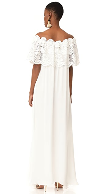 Miguelina Felicia Palm Leaf Lace Maxi Dress