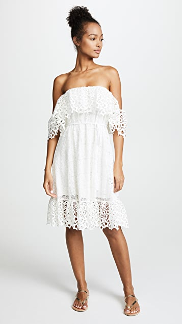 Miguelina Lotus Lace Haven Dress - White