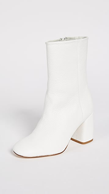 Miista Adrianne Block Heel Boots - White