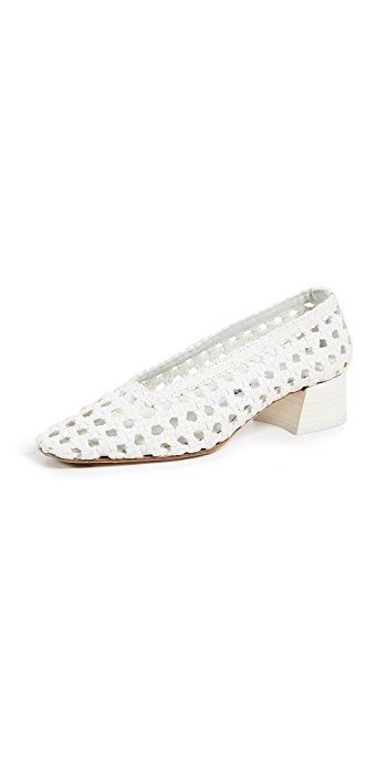 Miista Taissa Block Heel Pumps - Plain White