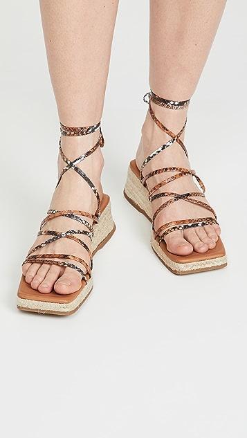 Miista Kathryn 麻编系带凉鞋
