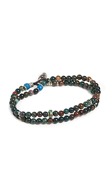 Mikia 4mm Beaded Double Wrap Bracelet
