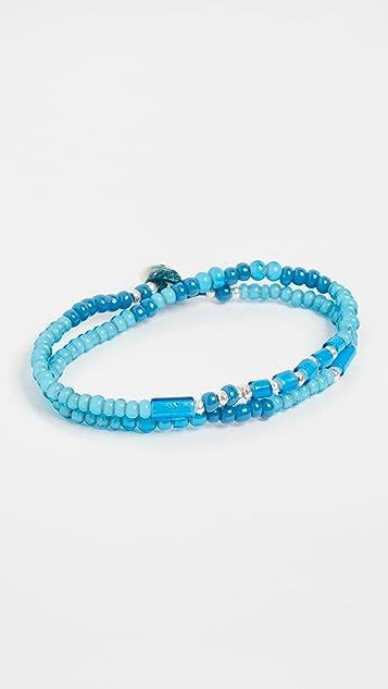 Mikia White Hearts Double Wrap Bracelet
