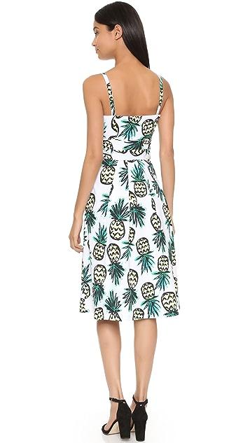Milly Pineapple Print Jordan Tie Dress