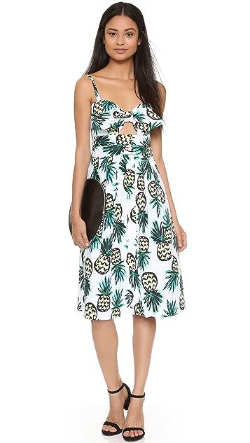 Milly Платье Jordan с завязками и принтом в виде ананаса