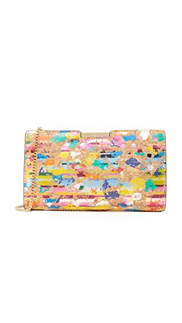 Milly Splatter Cork Frame Clutch