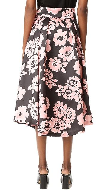 Milly Floral Print Midi Skirt
