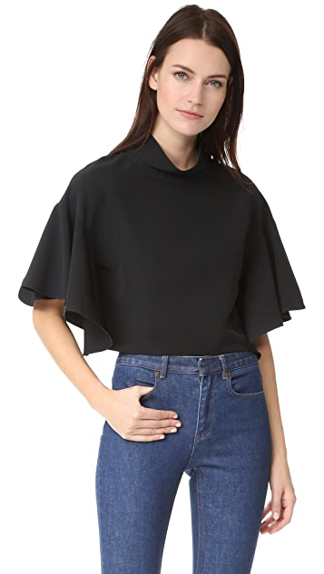 Milly Ruffle Mock Neck Top