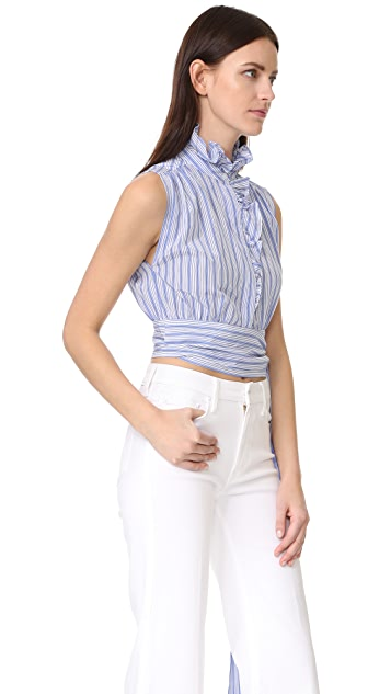 Milly Stripe Ruffled Wrap Top