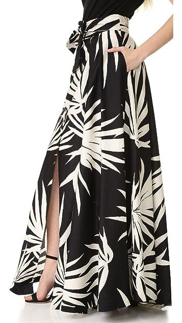 Milly Palm Print Jackie Maxi Skirt