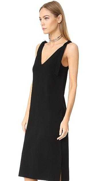 Milly Tie Shoulder V Neck Dress