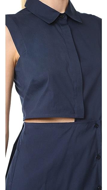 Milly Cotton Poplin Cutout Shirtdress