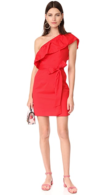 Milly Cotton Poplin One Shoulder Tara Dress
