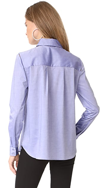 Milly Italian Cross Dye Shirting Cassie Top
