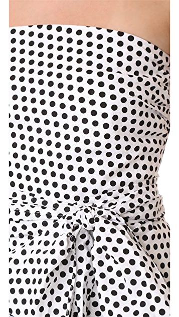 Milly Dot Print Strapless Blouse