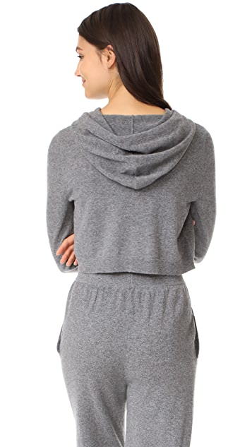 Milly Cashmere Cropped Hoodie