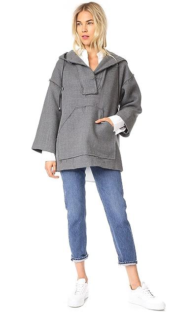 Milly Double Wool Hoodie Coat