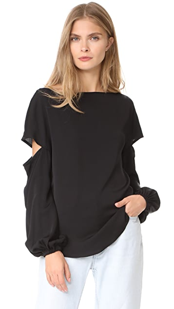 Milly Stretch Silk Dahlia Blouse
