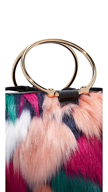 Milly Faux Fur Drawstring Bucket Bag