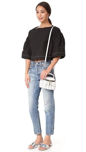 Milly Astor Ruffle Small Top Zip Cross Body Bag