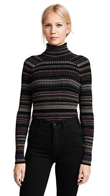 Milly Metallic Stripe Pullover