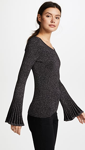 Milly Metallic Rib Flare Sleeve Sweater