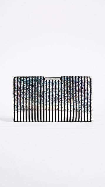 Milly Metallic Stripe Frame Clutch - Silver