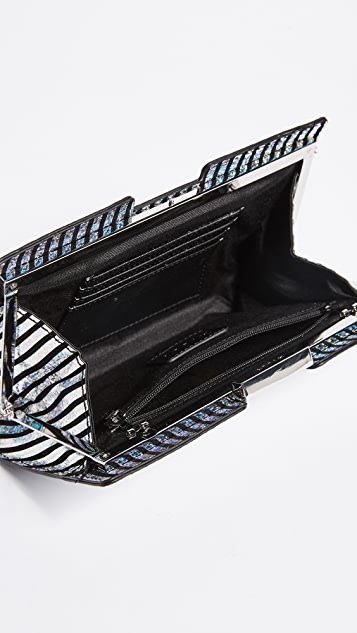 Milly Metallic Stripe Frame Clutch