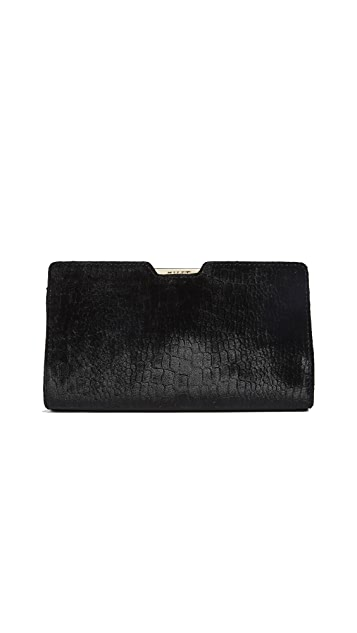 Milly Embossed Croc Velvet Frame Clutch