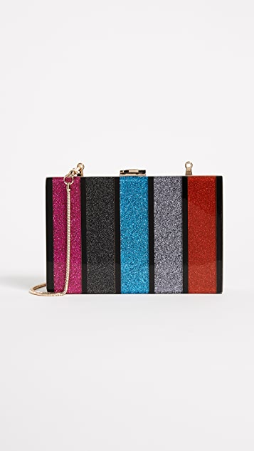 Milly Glitter Stripe Box Clutch