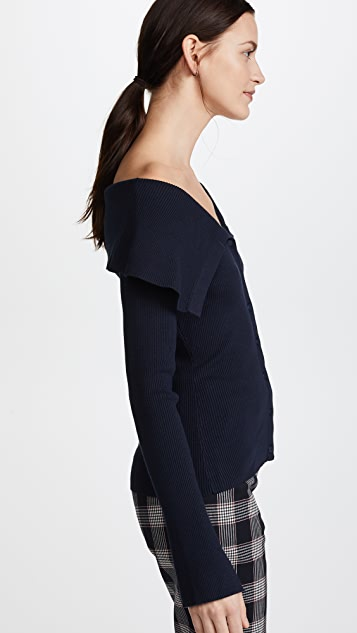 Milly Off Shoulder Rib Cardigan