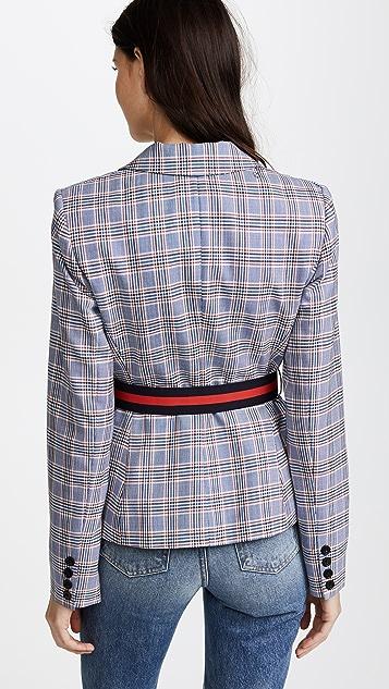 Milly Italian Pinstripe Belted Blazer