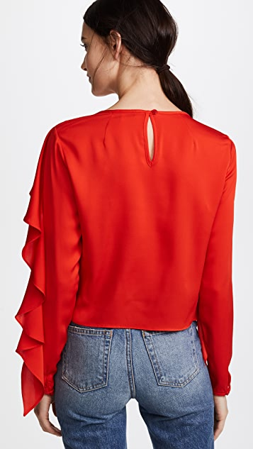 Milly Stretch Silk Cascade Sleeve Top