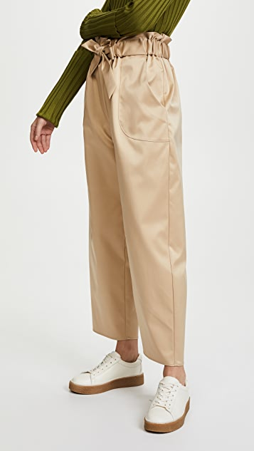 Milly Satin Gathered Kori Pants