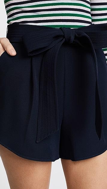 Milly Italian Cady Petal Trapunto Shorts