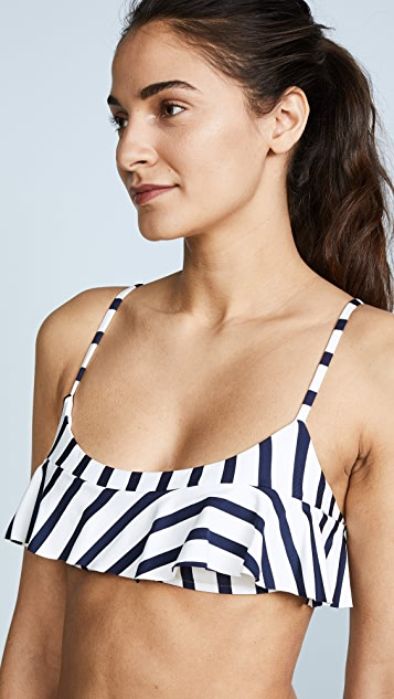 Milly Stripe Ruffle Scoop Neck Bikini Top