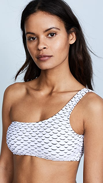 Milly Wave Stretch Jacquard One Shoulder Top