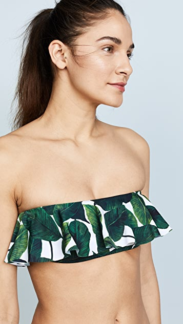 Milly Banana Leaf Print Ruffle Bandeau Top