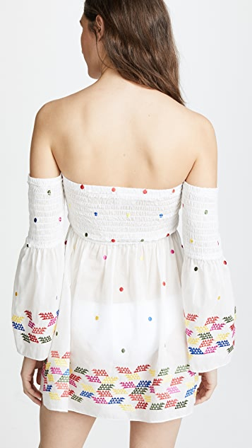 Milly Rainbow Embroidery Smocked Cover Up