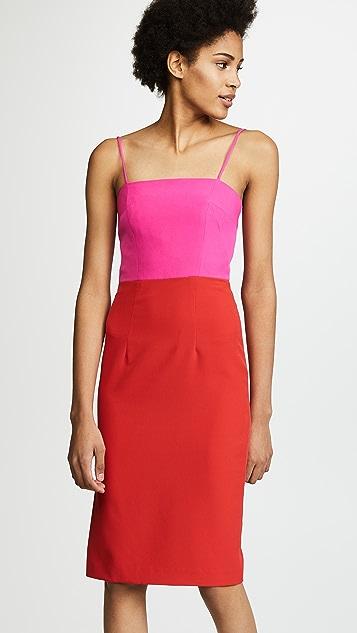 Milly Cady Pencil Dress - Tomato/Raspberry