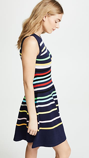 Milly Rainbow Stripe Flare Dress