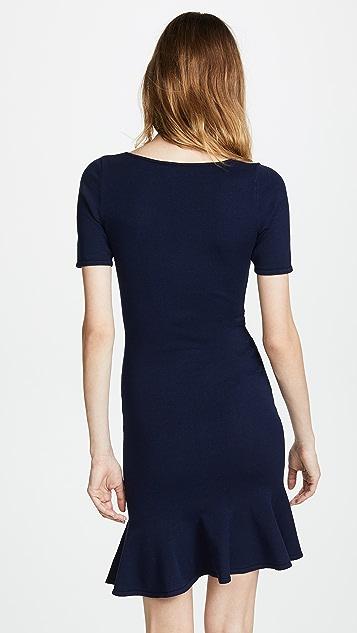 Milly Shirred V Neck Dress