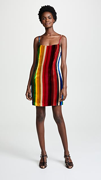 Milly Rainbow Mini Slip Dress