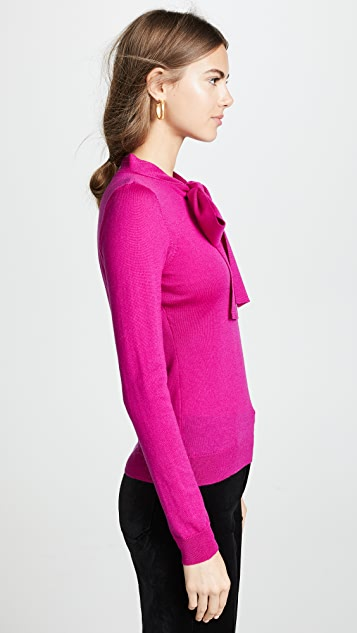Milly Tie Neck Pullover Sweater