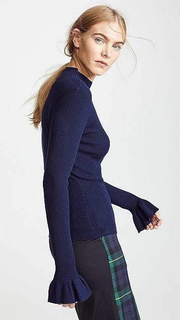 Milly Пуловер со стразами в рубчик