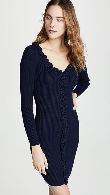 Milly Облегающее платье с отделкой оборками