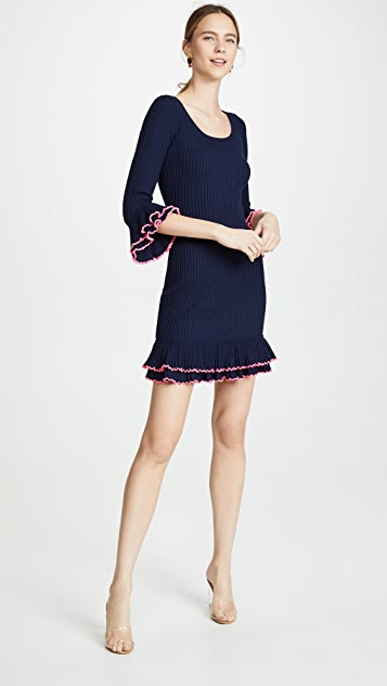 Milly Contrast Ruffle Sleeve Dress