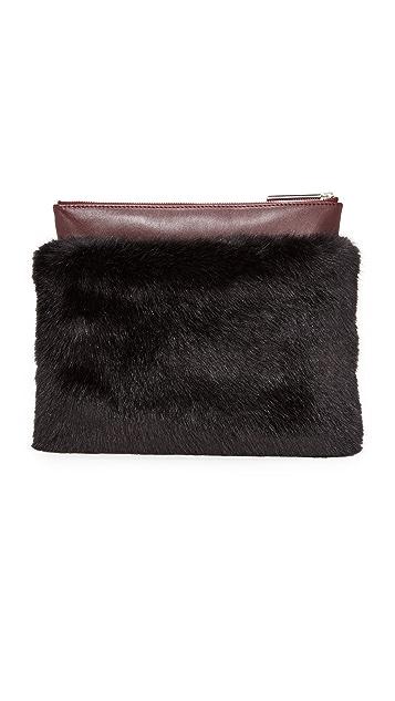 MILMA Detachable Faux Fur Clutch