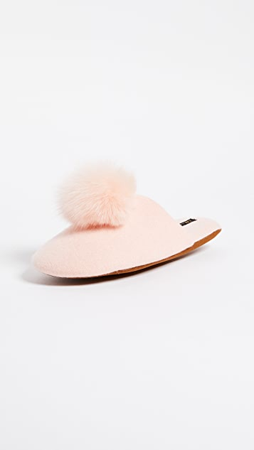 Minnie Rose Fox Pom Pom Slippers