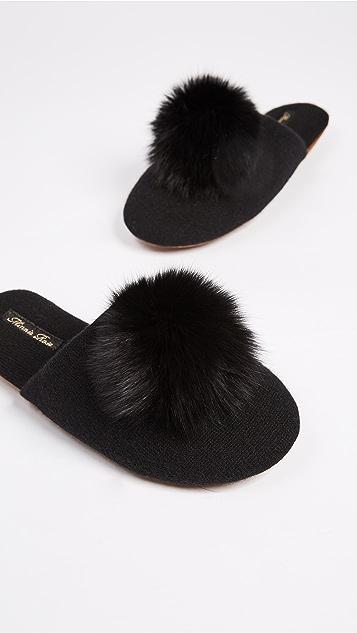 Minnie Rose Fox Pom Pom Slippers